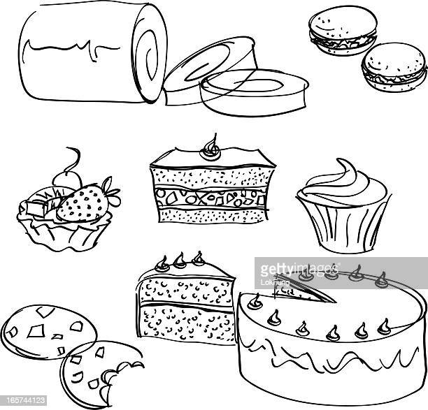 cakes collection - macaroon stock illustrations, clip art, cartoons, & icons
