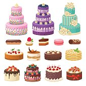 Cakes icons collection.