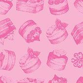 Cakes pink seamless pattern