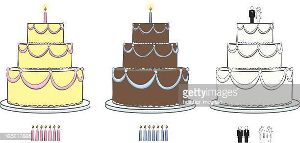 cakes - wedding cake stock illustrations