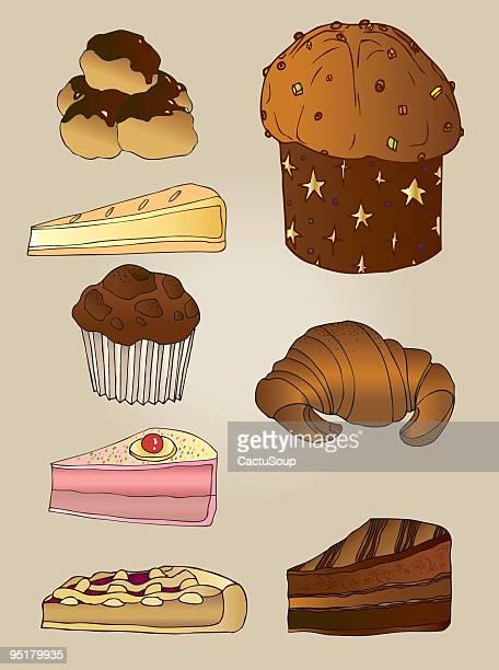 illustrazioni stock, clip art, cartoni animati e icone di tendenza di torte - panettone