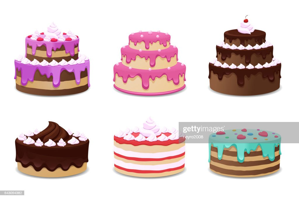 Cakes vector set. Icons on white background