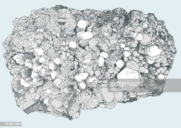 calacite quartz minereal rock diamond - physical geography stock illustrations, clip art, cartoons, & icons