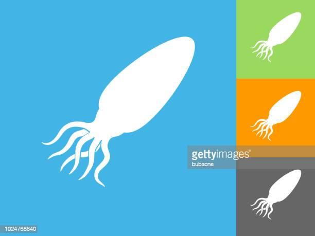 Calamari  Flat Icon on Blue Background