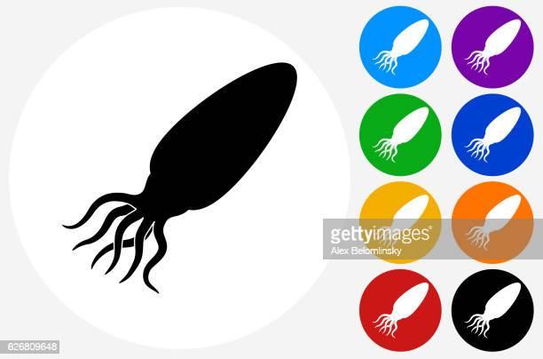 Calamari Icon on Flat Color Circle Buttons