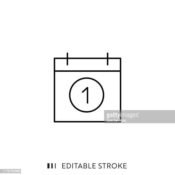 calander icon with editable stroke and pixel perfect. - month stock illustrations