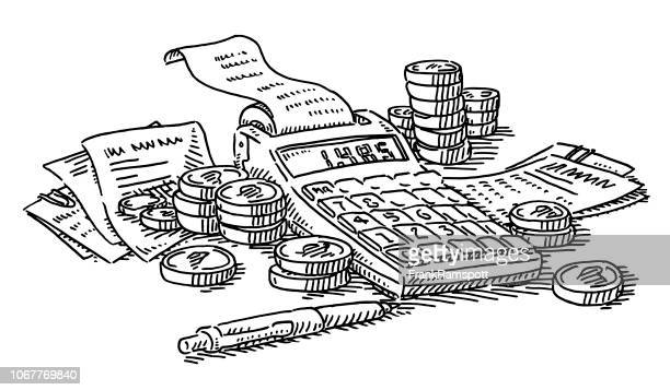 calculation financial expenses money concept drawing - calculator stock illustrations