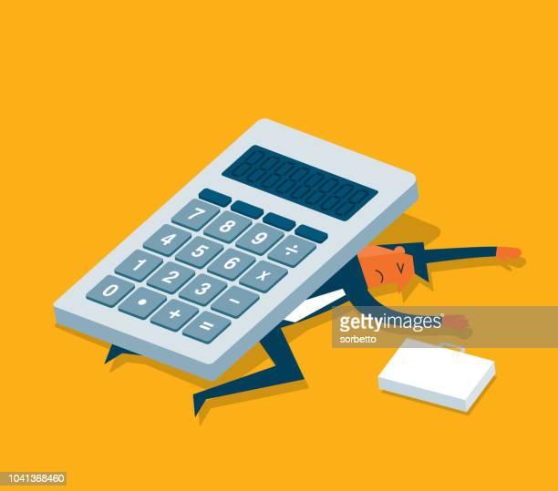ilustraciones, imágenes clip art, dibujos animados e iconos de stock de calculadora - empresario - impuesto sobre la renta