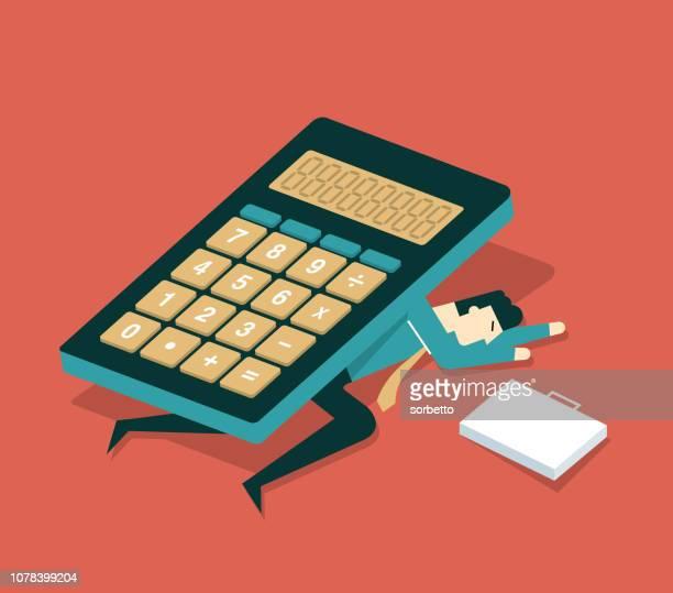 ilustraciones, imágenes clip art, dibujos animados e iconos de stock de calculadora - empresario - impuestosobrelarenta