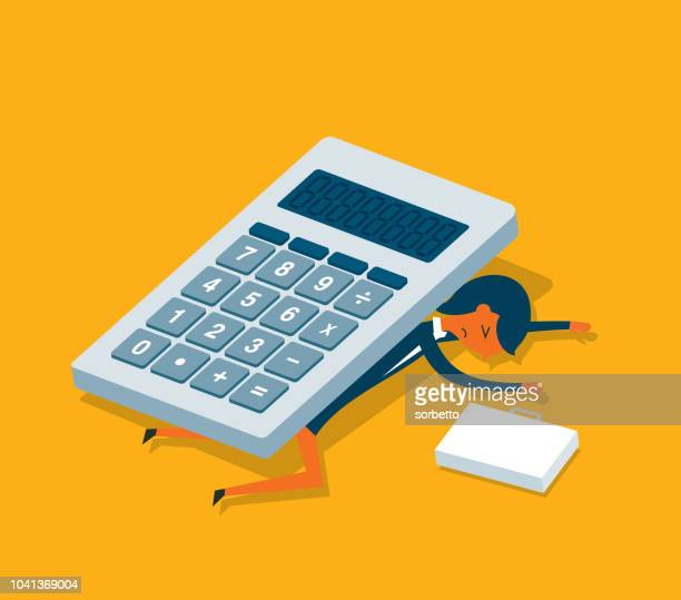 calculator - businesswoman - accountancy stock illustrations, clip art, cartoons, & icons