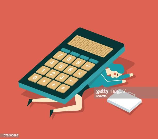 ilustraciones, imágenes clip art, dibujos animados e iconos de stock de calculadora - empresaria - impuesto sobre la renta