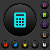 Calculator dark push buttons with color icons