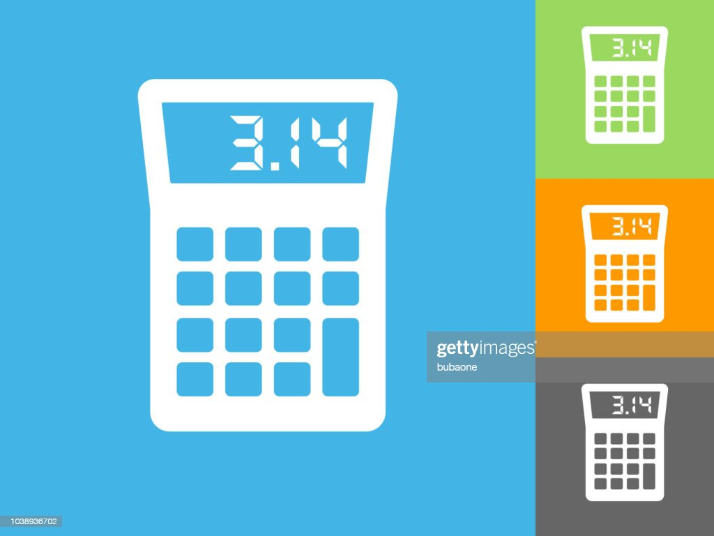 Calculator Flat Icon On Blue Background High Res Vector