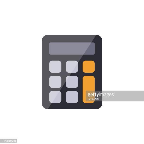 stockillustraties, clipart, cartoons en iconen met calculator vlak pictogram. pixel perfect. voor mobiel en web. - rekenmachine
