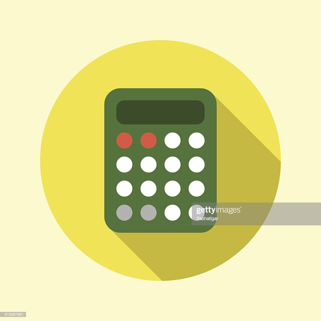 Calculator icon. Flat long shadow design.