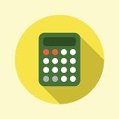 Calculator icon. Flat long shadow design.