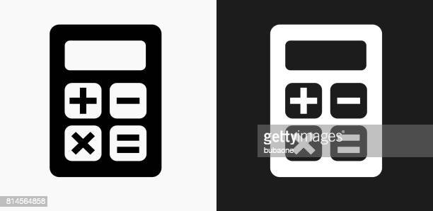 Calculator Icon on Black and White Vector Backgrounds