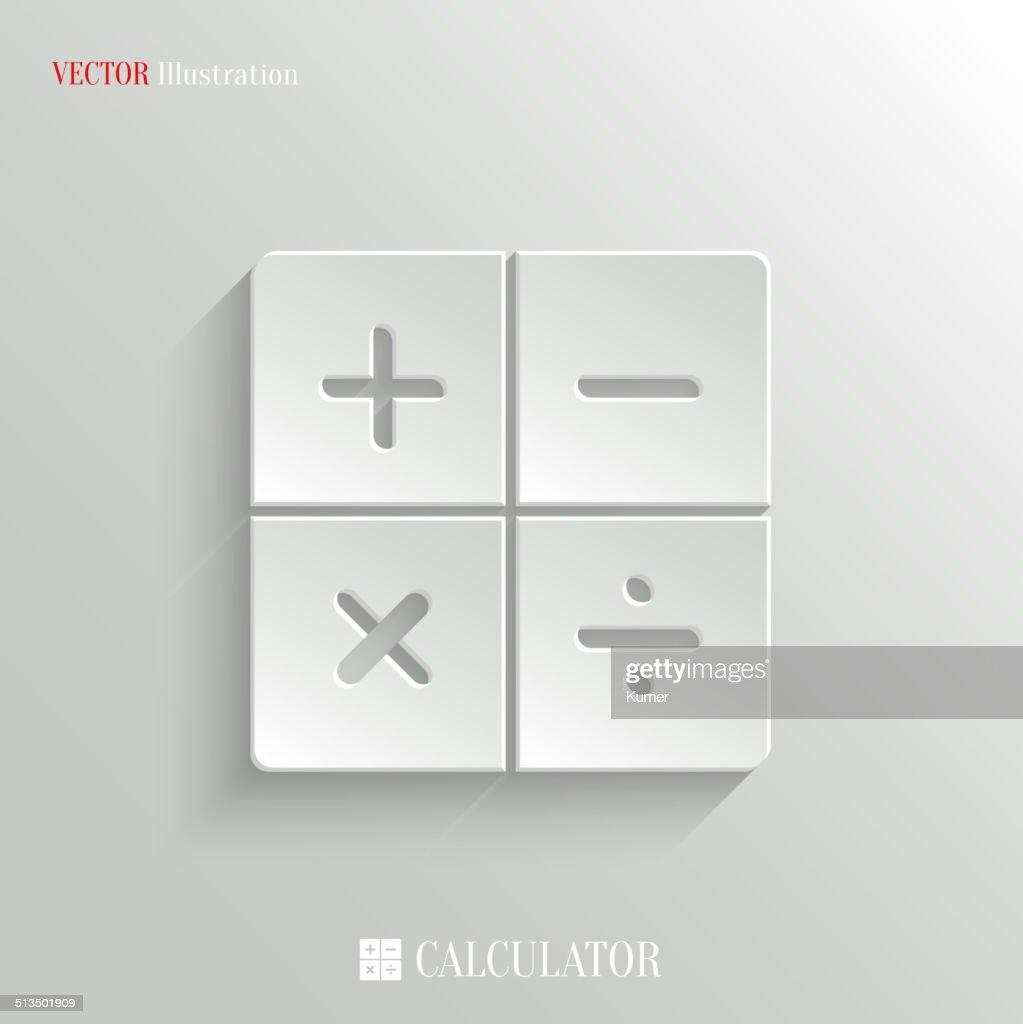 Calculator icon - vector white app button