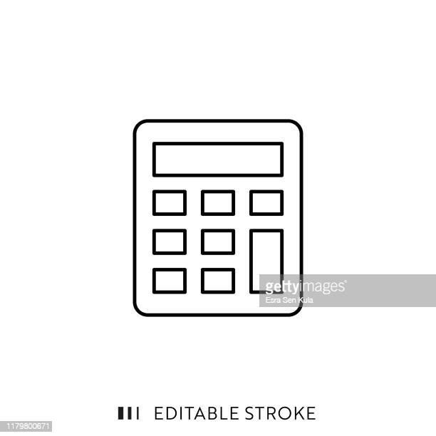 stockillustraties, clipart, cartoons en iconen met rekenmachine-pictogram met bewerkbare lijn en pixel perfect. - rekenmachine