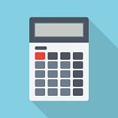 Calculator isolated on a colored background