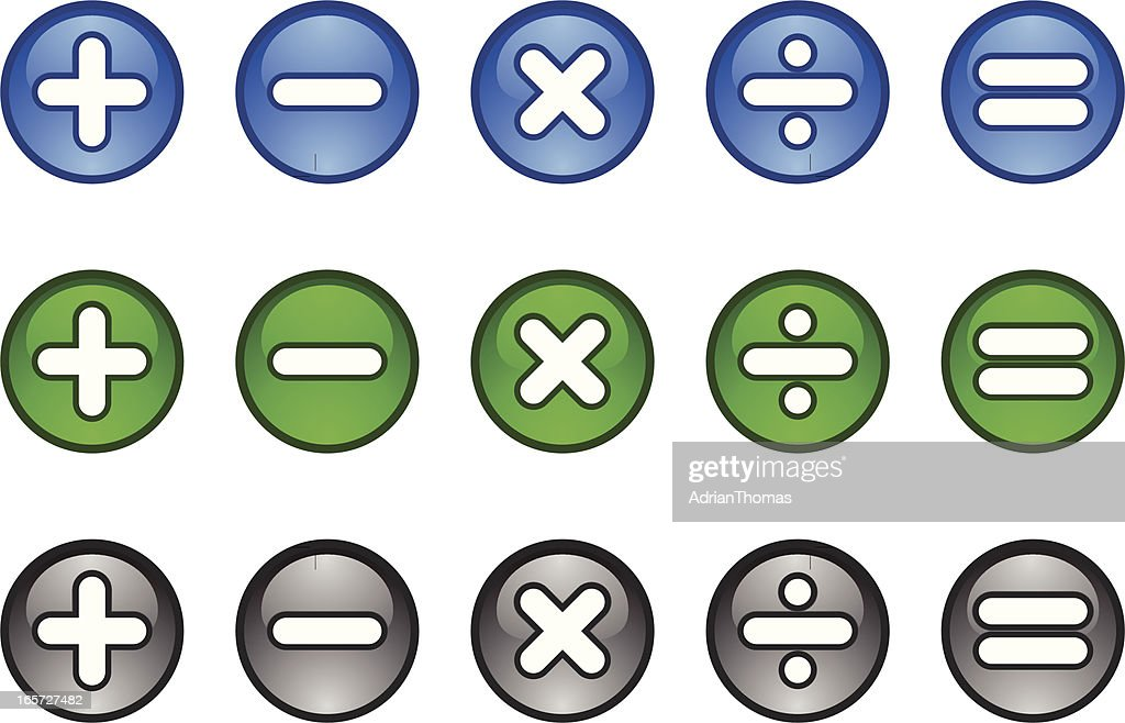 Calculator Maths symbols icon buttons plus minus multiply divide equals