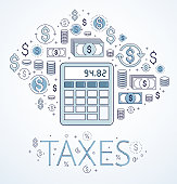 Calculator taxes and accounting concept surrounded by financial icon set, bookkeeping, taxation, vector design.