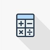 Calculator thin line flat color icon. Linear vector symbol. Colorful long shadow design.