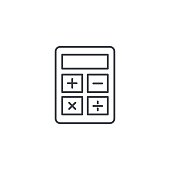 Calculator thin line icon. Linear vector symbol