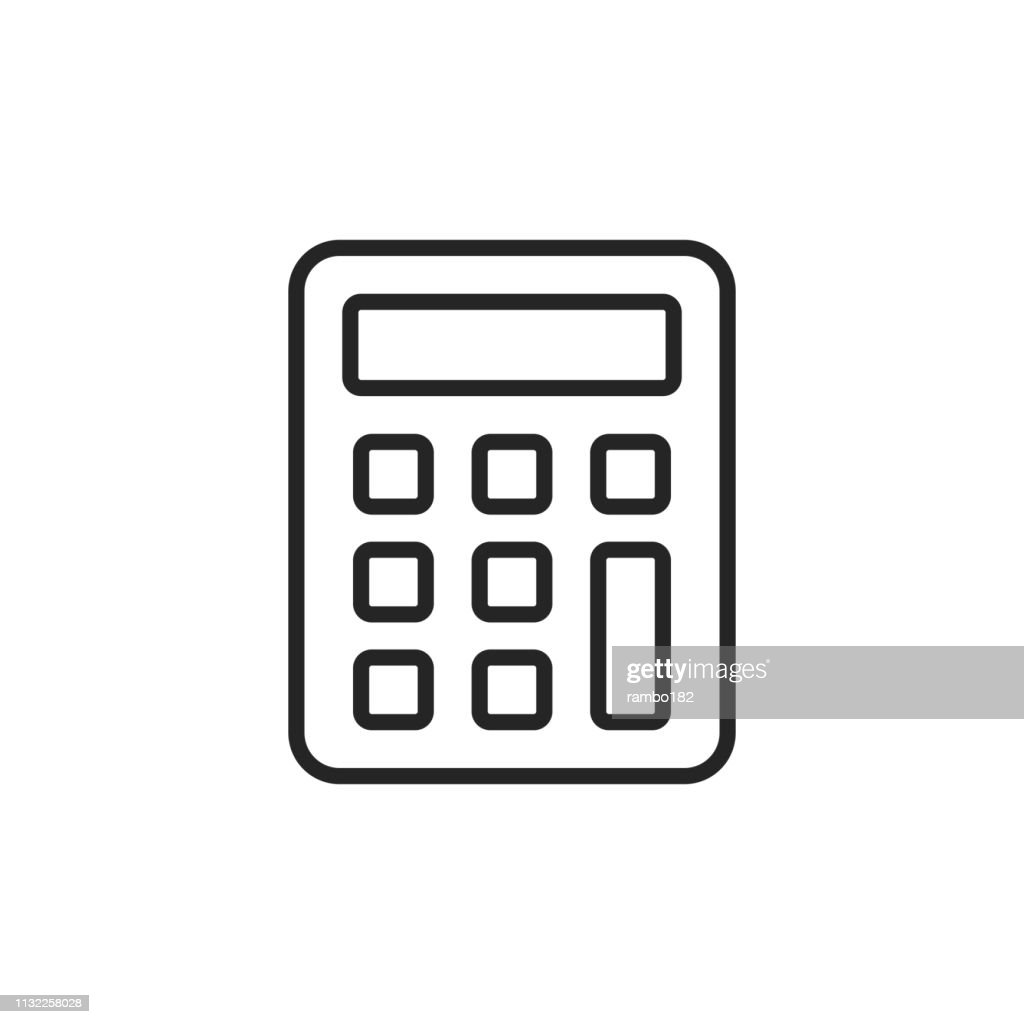 Calculator Thin Line Vector Icon Editable Stroke Pixel