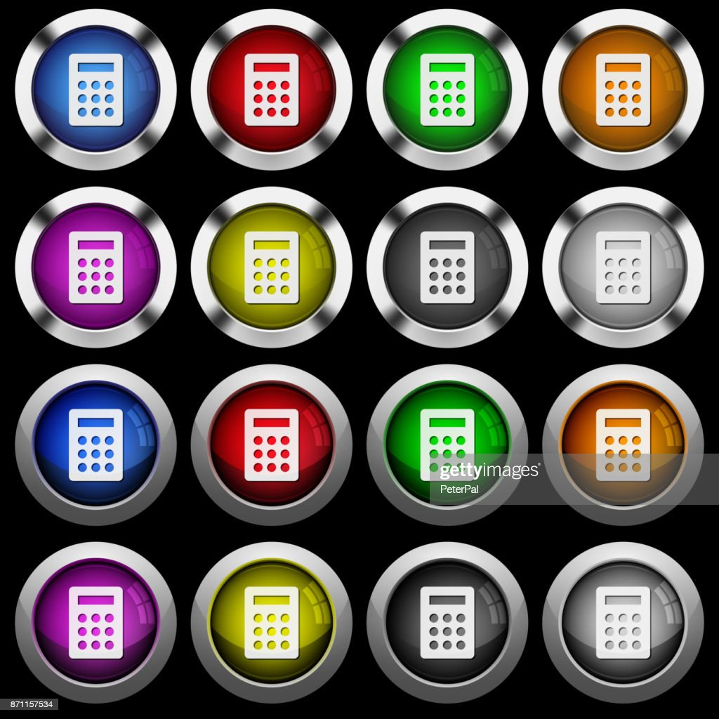 Calculator white icons in round glossy buttons on black background