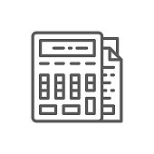 Calculator with documents, bookkeeping, accounting line icon.