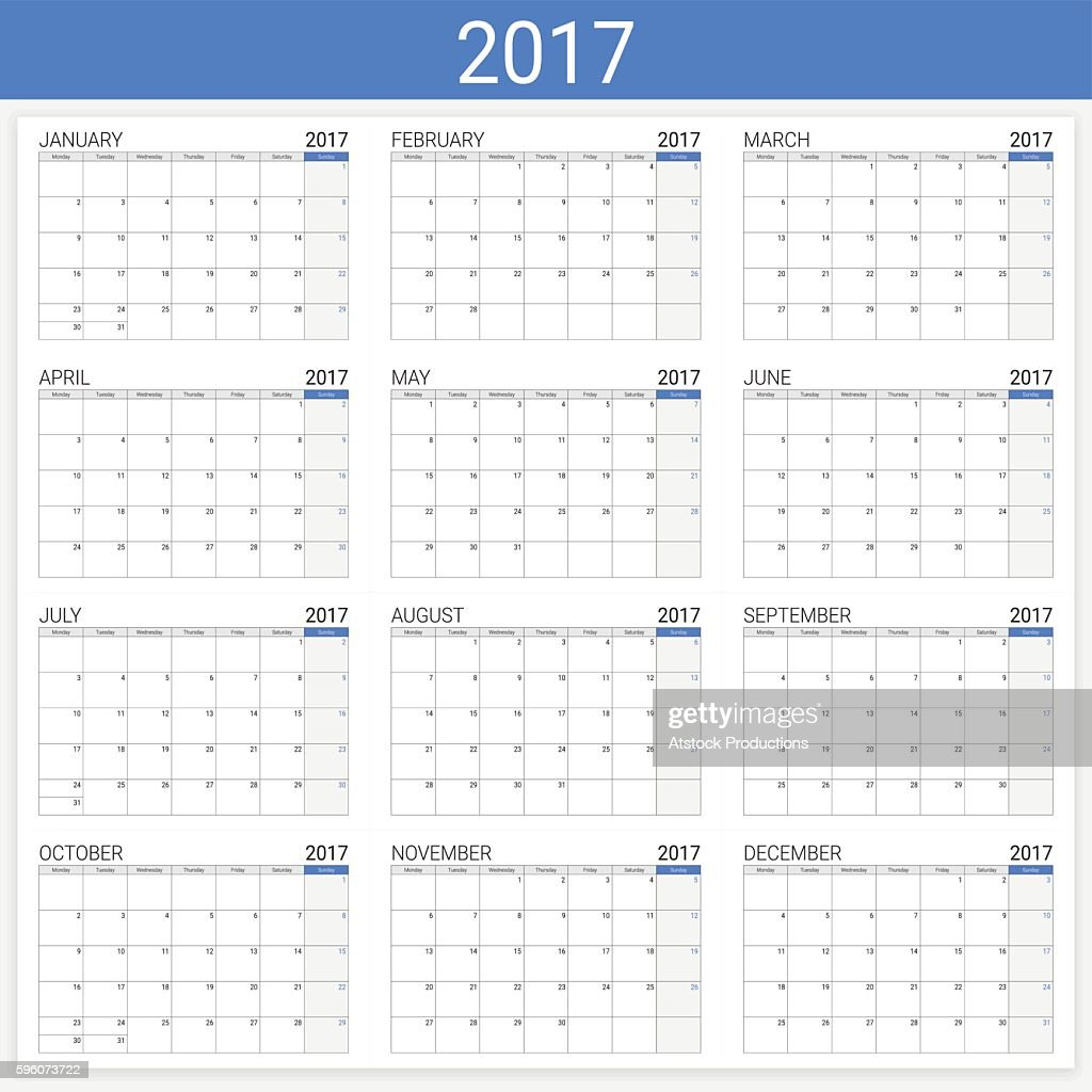 2017 calendar (or desk planner), 12 month set
