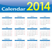 calendar 2014 popular template on isolated background