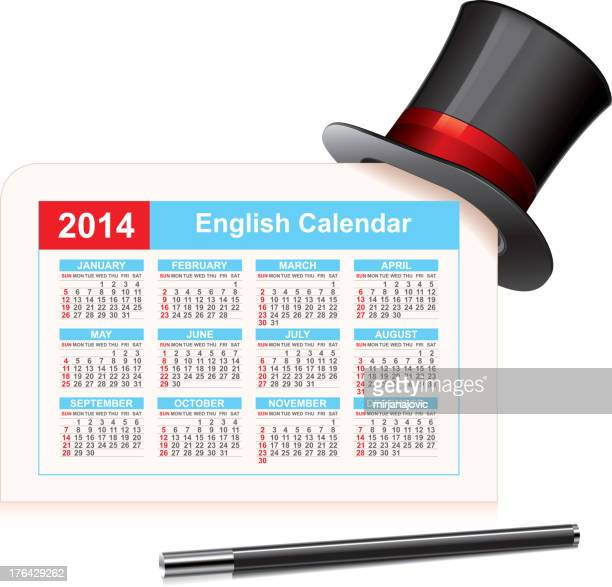 calendar 2014 - top hat stock illustrations