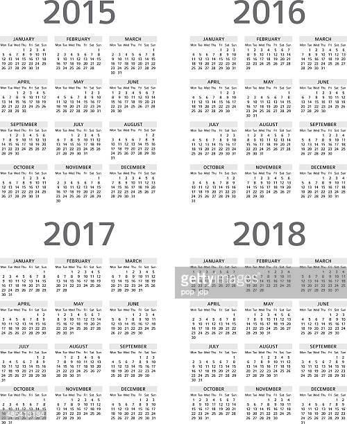 Calendrier 2015, 2016, 2017 208 illustration