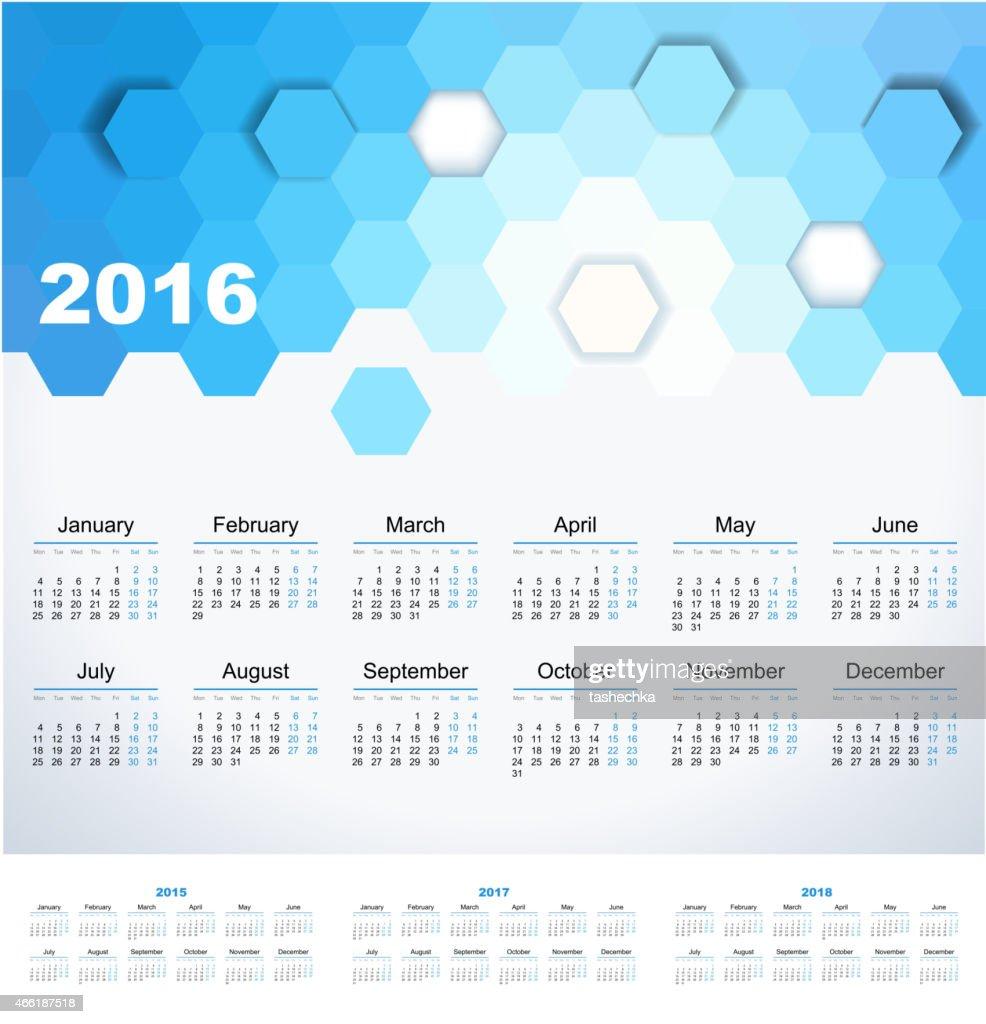 Calendar 2015, 2016, 2017, 2018 year. Week starts from monday.