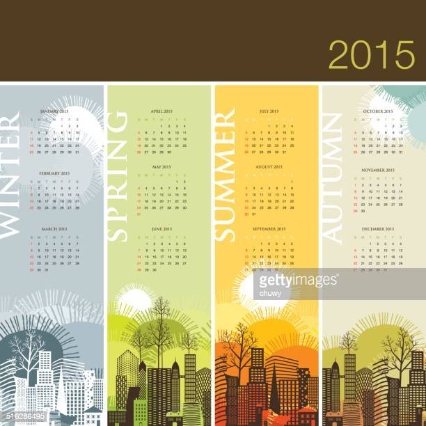 calendar 2015 season spring summer winter autumn - 2015 stock illustrations