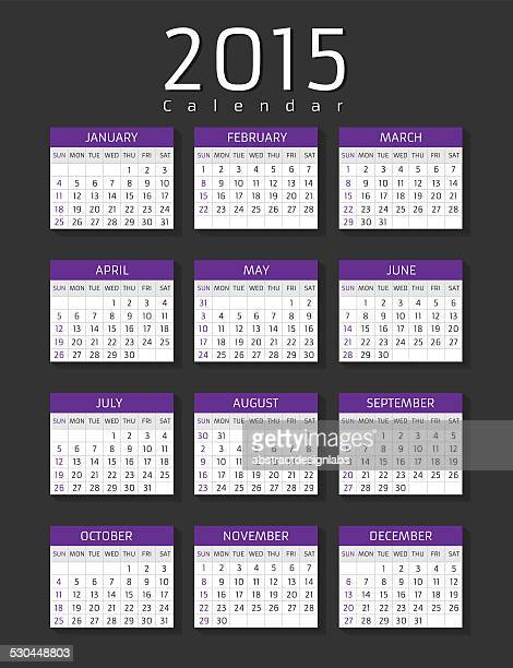 calendar 2015 - monthly event stock illustrations