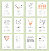 Calendar 2015 with hand drawn romantic elements. Isolated. Vector