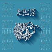 Calendar 2015 Year of Sheep.Cartoon outline curly sheep