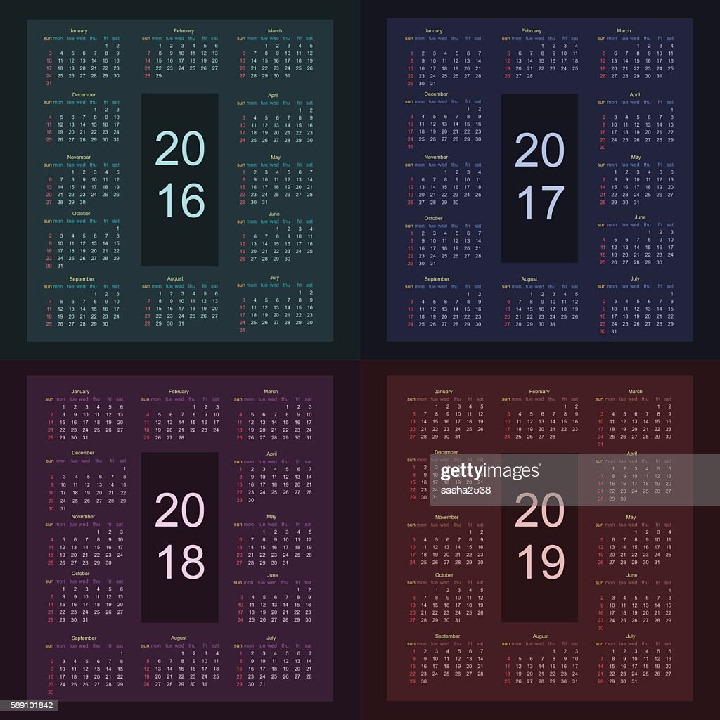Calendar 2016 2017 2018 2019 starting from sunday