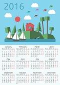 Calendar 2016, house, landscape