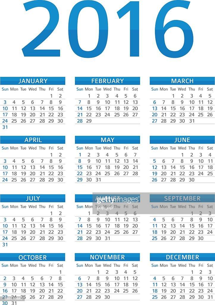 カレンダー 2016 イラストレーション ベクトルアート getty images