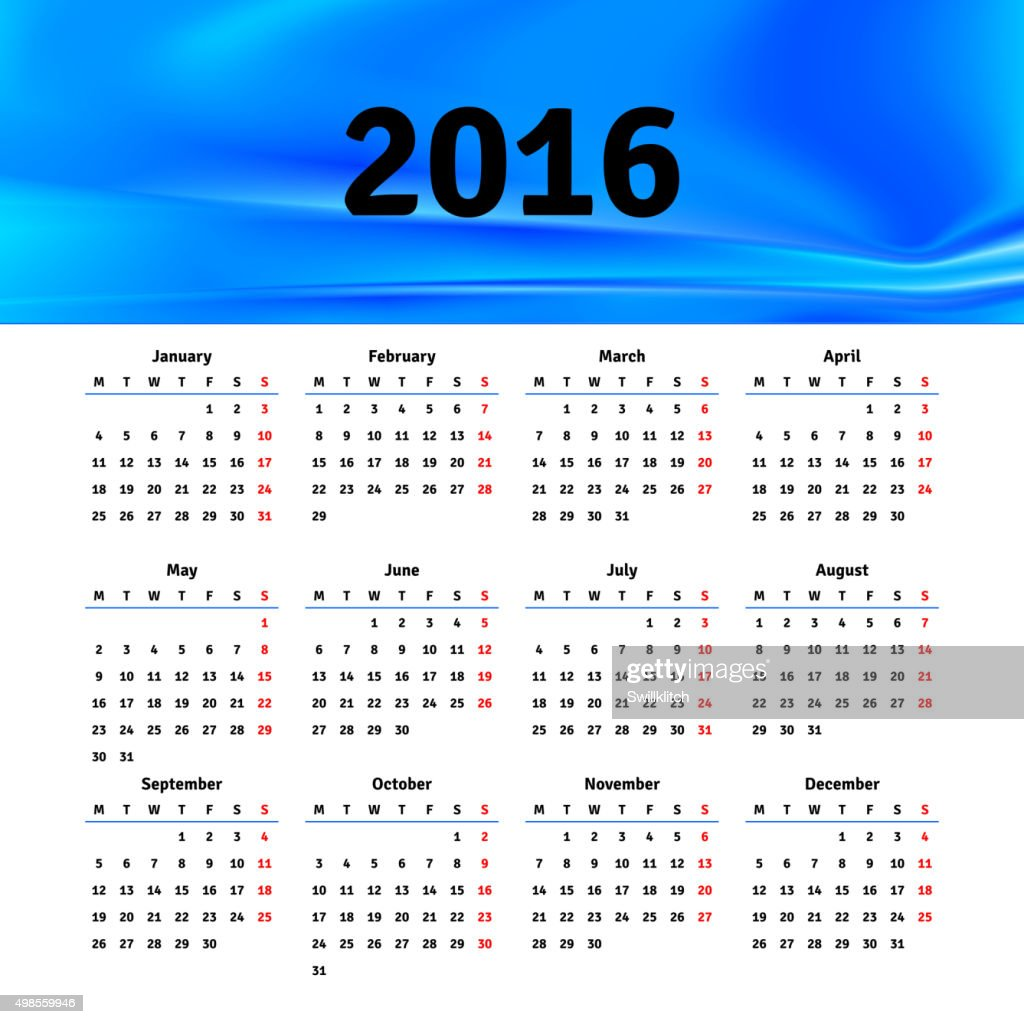 Calendar 2016 template design with header picture starts monday