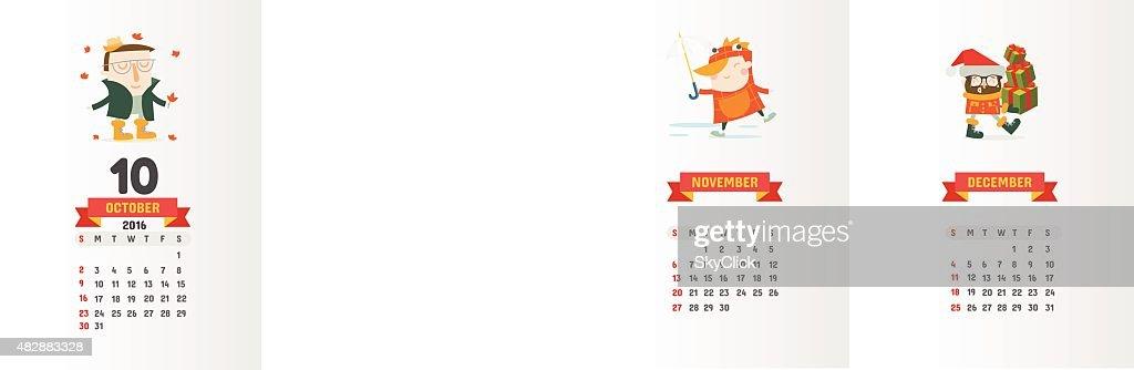 Calendar 2016 with cute cartoon characters - 10 October
