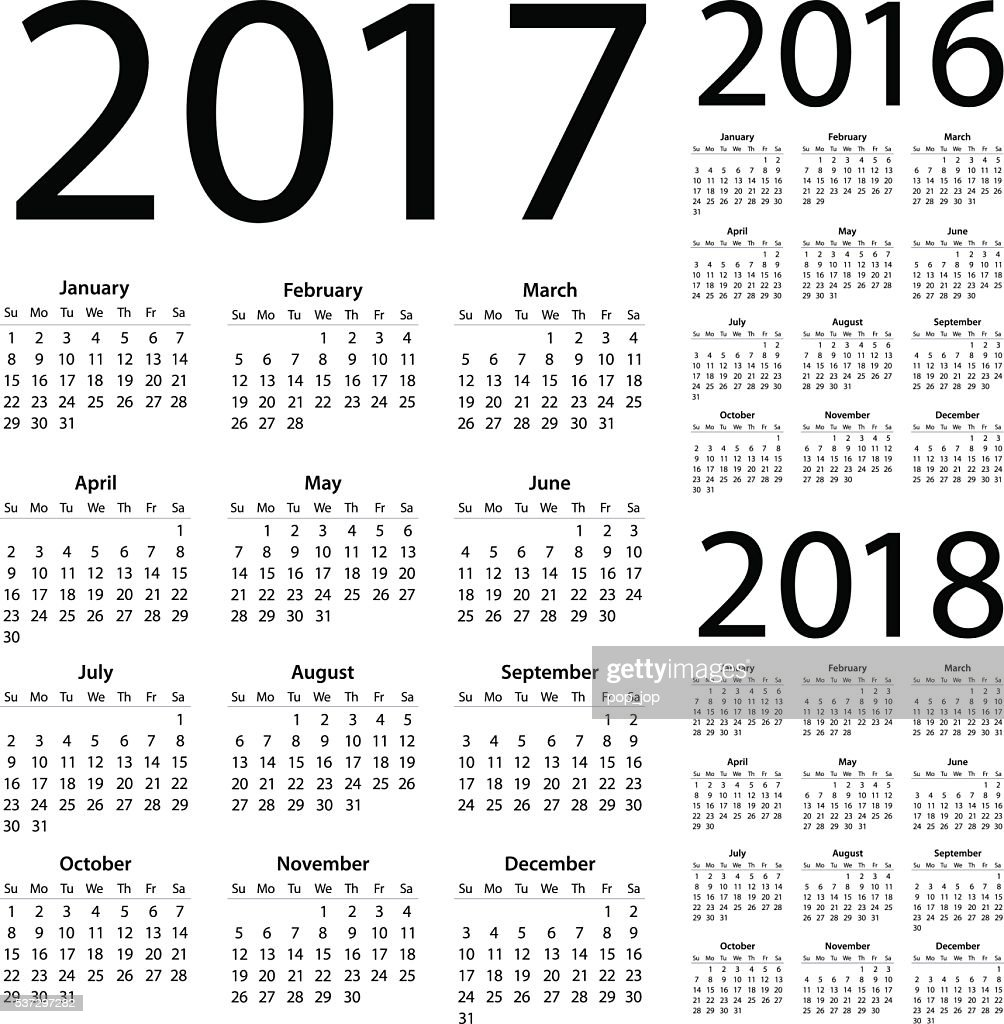 Calendar 2017 2016 2018 - illustration