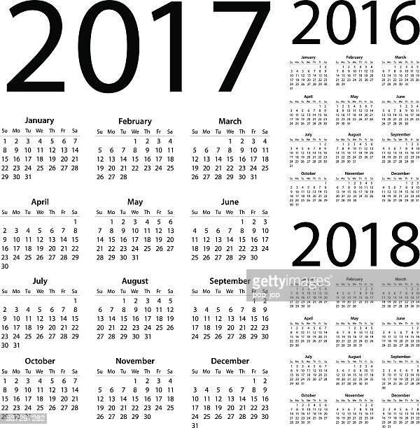 calendar 2017 2016 2018 - illustration - 2016 stock illustrations, clip art, cartoons, & icons