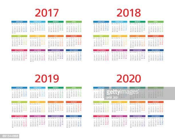 Kalender 2017 2018 2019 2020: Montag - Sonntag