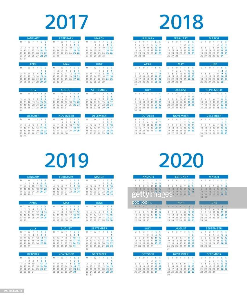 Calendar 2017 2018 2019 2020 Monday Sunday Vector Art ...