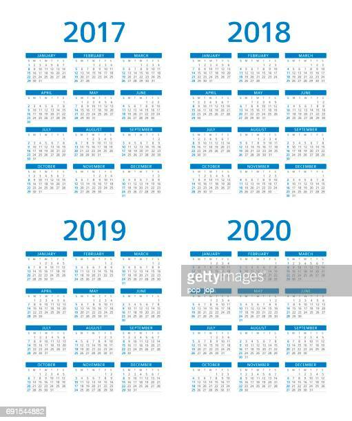 calendar 2017 2018 2019 2020: sunday - monday - 2019 2020 calendar stock illustrations